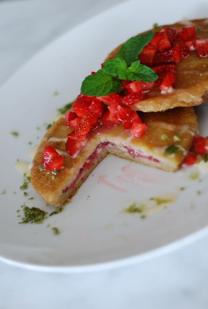 Roasted Strawberry Pupusas with Mint Sugar and Sweet Crema | getinmymouf.com