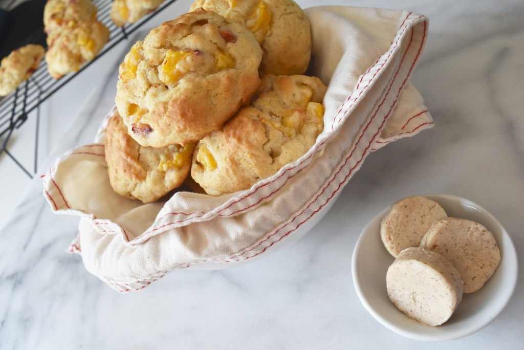 Nectarine Drop Biscuits with Spiced Honey Butter
